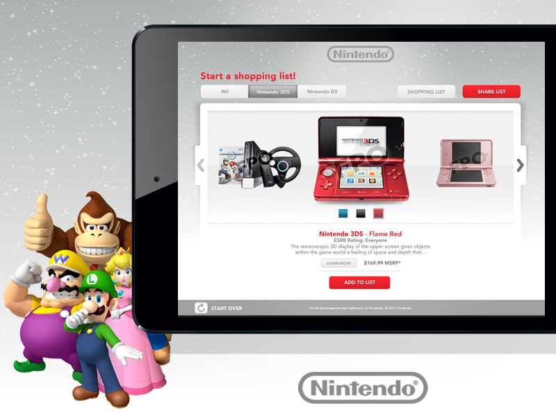 We designed an online Holiday Shopping List to be used on iPad devices at all the Nintendo stores.